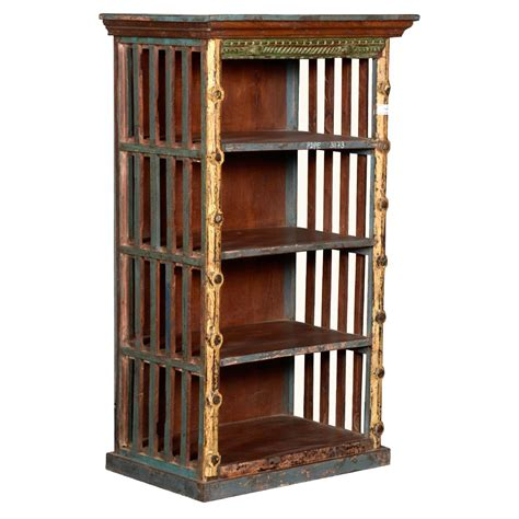 rustic open slats reclaimed wood golden post open bookcase