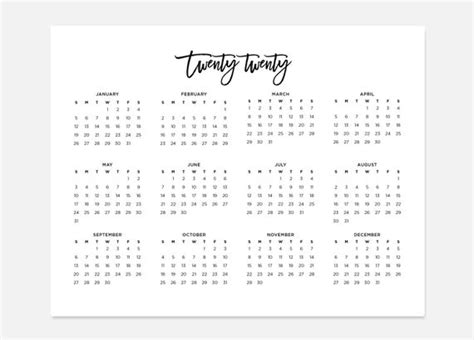 simple calendar  landscape calendar  calendar etsy