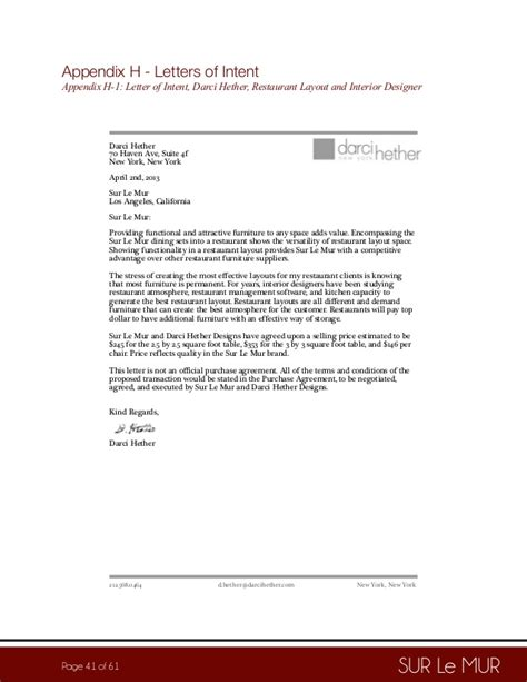 Letter Of Intent For Restaurant Business Sur Le Mur Business Plan Pdf