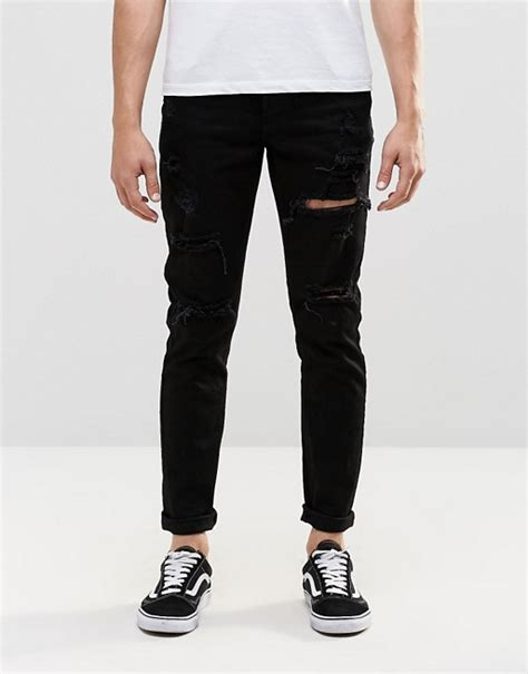 Ripped On Knee And Thigh Blue dr denim dr denim clark slim black ripped knee and