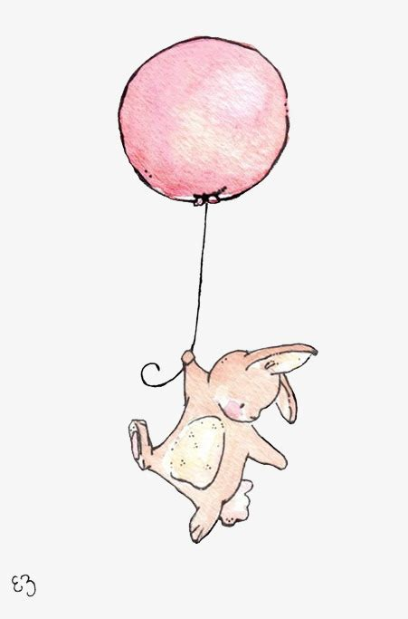 Holding balloons rabbit illustration rabbit balloon png and vector for free download