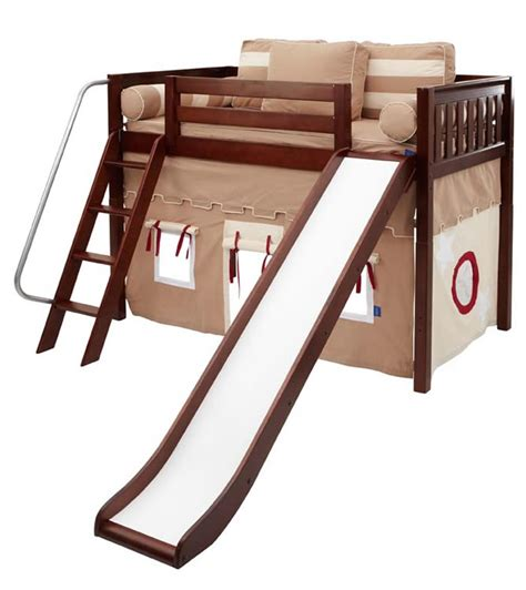 fort beds play fort mid loft bed w slide by maxtrix kids khaki red