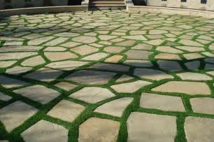Patio Pavers Grass Between Synthetic Grass Grids Pavers Stepping Stones