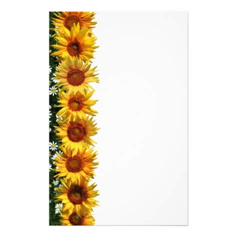 Sunflower Border Stationery Zazzle Sunflower Stationery Template