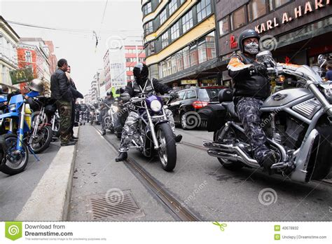 Bikers Brotherhood Bandidos protest of motorcycle clubs oslo editorial photography