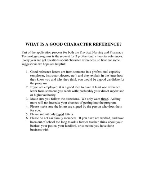 Character Reference Letter definition of letter of recommendation best template