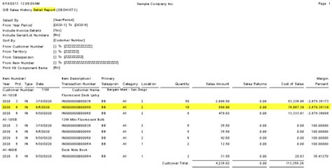sle history report 300 erp accpac sales history reporting using