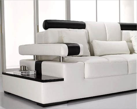 Modern White Leather Sectional Sofa Set 44lt117 Modern White Sectional Sofa