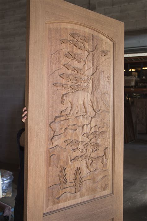 mountain carved door