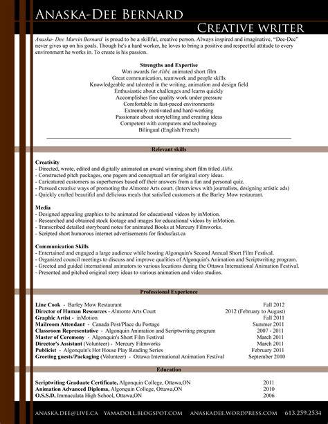anaska bernard creative writer resume 171