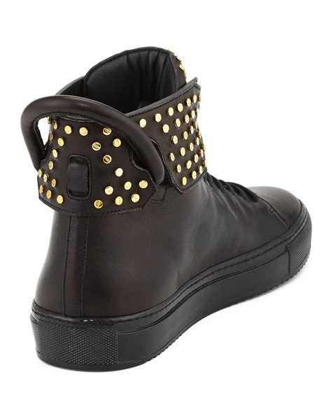 buscemi shoes buscemi stud detail leather high top sneakers in black lyst