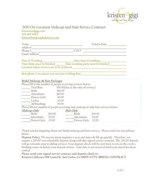 hair and makeup contract template bridal makeup contract makeup vidalondon