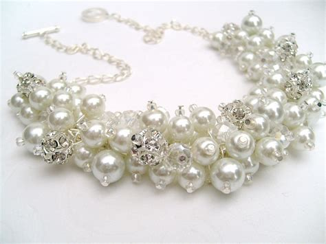 white pearl and rhinestone beaded necklace bridal jewelry