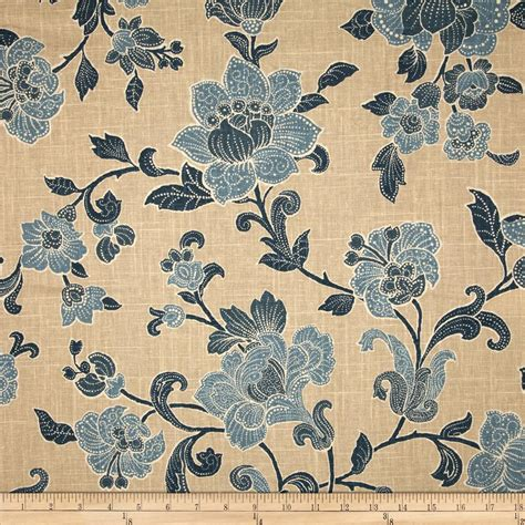 Jacobean Upholstery Fabric by Duralee Jacobean Bouquet Blend Blue Discount