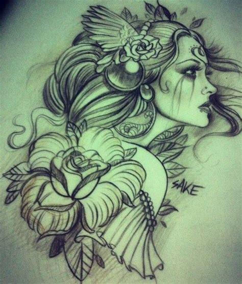 tattoo girl sketch tattoo drawing girl roses headdress tattoos