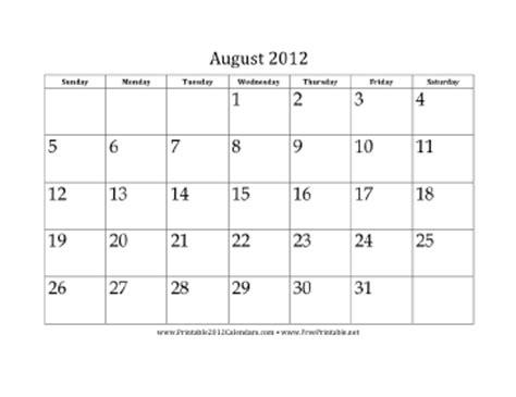 printable august 2012 calendar