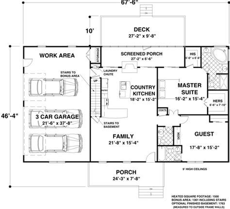House Plan 92395 At Familyhomeplans Com House Plans Below 1500 Square