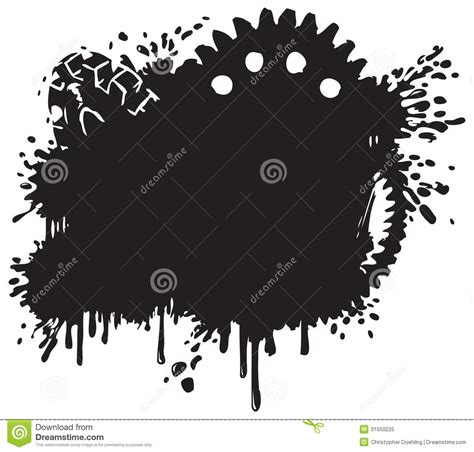 splatter and gear vector background silhouette stock