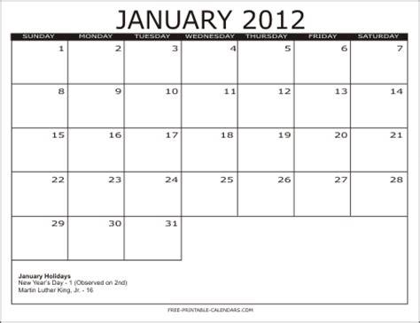 January 2012 Calendar New Year January 2012 Calendar Printable