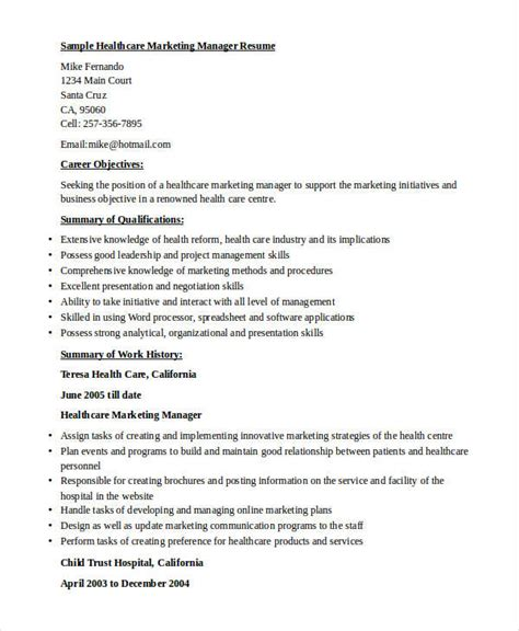 Resume For Healthcare Marketing by Healthcare Marketing Resume Resume Ideas