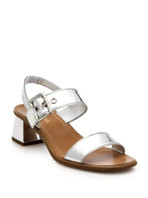 heeled sandal lyst prada metallic leather low block heeled sandals in
