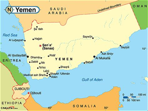 printable map of yemen yemen political map by maps com from maps com world s