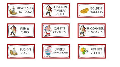 printable pirate labels printable jake and the neverland pirates food labels