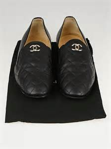 chanel quilted loafers chanel black quilted calfskin leather cc loafers size 9 39