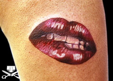 lips tattoo cover up kiss my thigh hautedraws