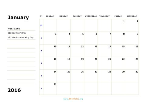 printable monthly planner january 2016 january 2016 calendar wikidates org