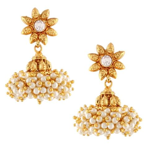 design earrings online buy chandni pearls sunflower south indian jhumka earring