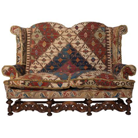 sofa rug sofa upholstered in old kilim rug at 1stdibs