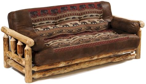 Pine Futon by Rustic Pine Log Futon Big Lake Horizon Fabric