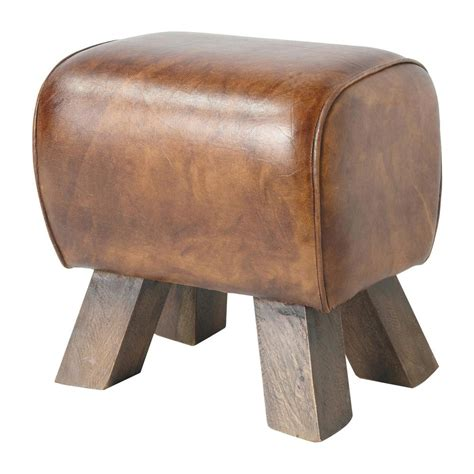 Hocker Braun by Hocker Livingston Aus Leder Und Holz Braun Maisons Du Monde
