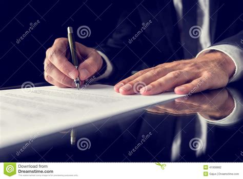 Fhsu Mba Concentration by Signing Document Stock Photo Image 41958882