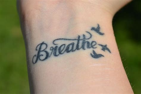 word tattoos 54 just breathe tattoos design on wrist
