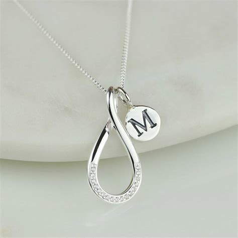 personalised silver infinity necklace by nest
