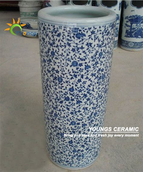 varied blue and white ceramic cylinder umbrella