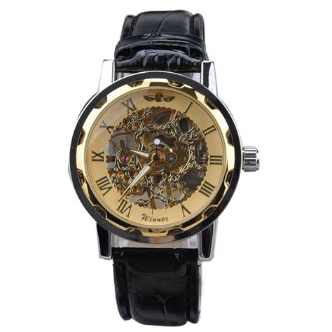 Diskon Promo Skeleton Leather Black Black Leather mance mens watches for sale classic black leather gold skeleton mechanical sport