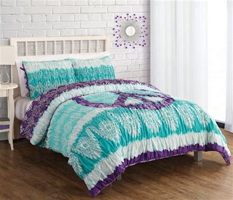 peace sign bedroom green purple peace sign teen girl bedding twin full queen