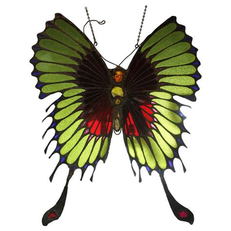 Stained Glass Butterfly L by Stained Glass Butterfly Manner Of At 1stdibs