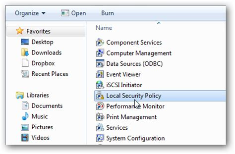 cannot find local security policy windows 7 home premium