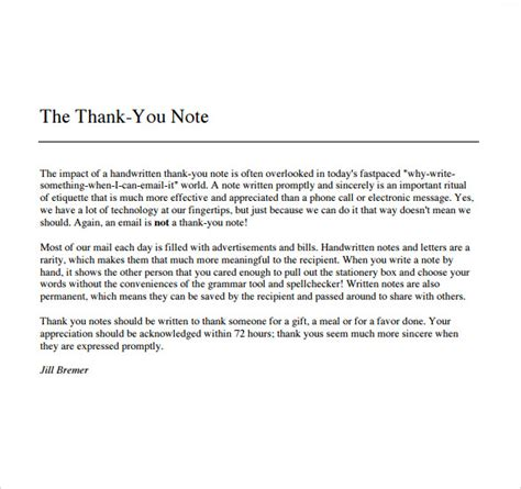 thank you letter legacy gift thank you note for gift template business