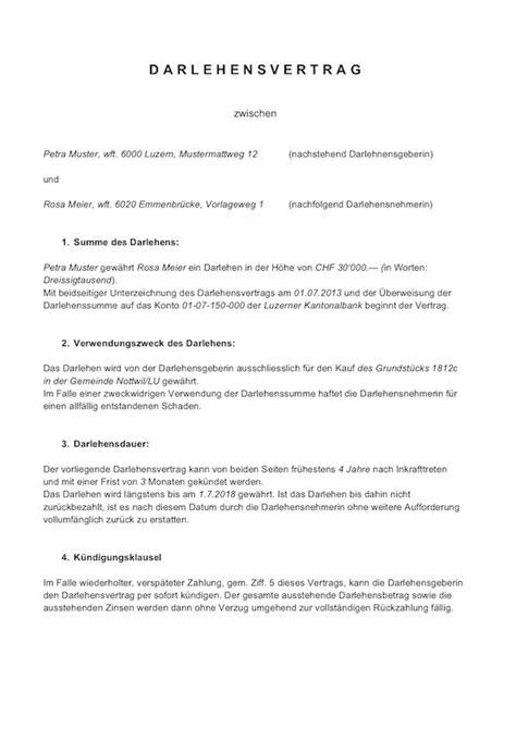 Muster Leihvertrag Schweiz darlehensvertrag vorlage schweiz muster vorlage ch