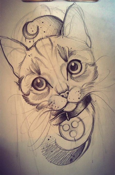 tattoo sketch cat by freulein fux sanat pinterest tattoo drawings and