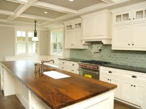 white kitchen island with butcher block top photo 3