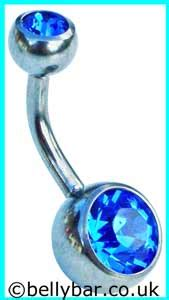 top and bottom belly bars sapphire blue double jewelled titanium belly bar