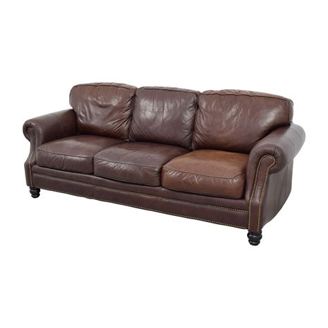 Brown Leather Sofa Cushions 61 Brown Leather Studded Three Cushion Sofa Sofas