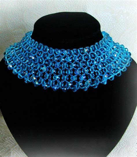 free pattern for blue beaded necklace magic
