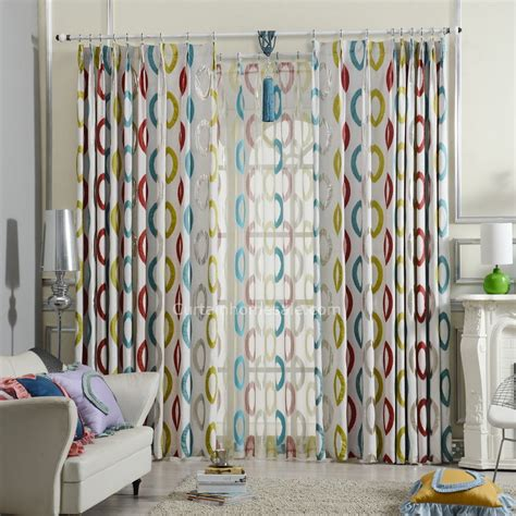 blue and red curtains blue yellow and red modern curtains geometric pattern